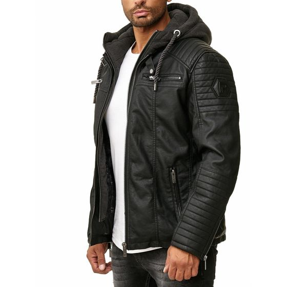 Red Bridge Herren Kunst- Lederjacke Kunstleder Bikerjacke mit Sweat- Kapuze Two in One