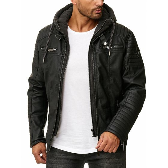 Red Bridge Mens Synthetic Leather Biker Jacket with Sweat...