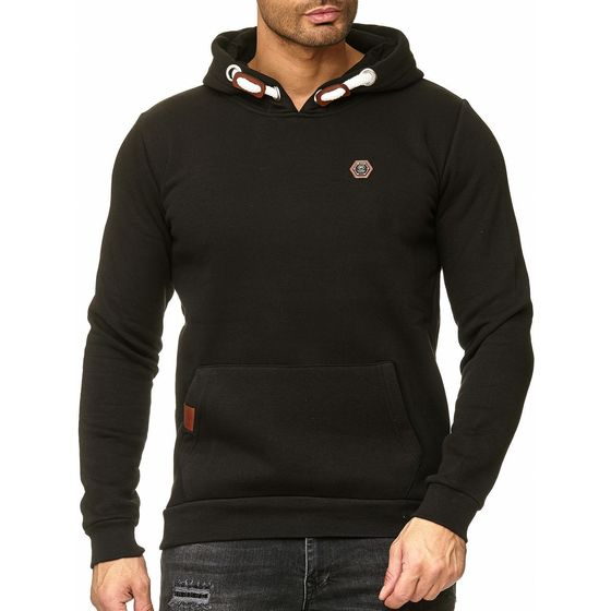 Red Bridge Mens Metal Leather Logo Patch Hoodie...