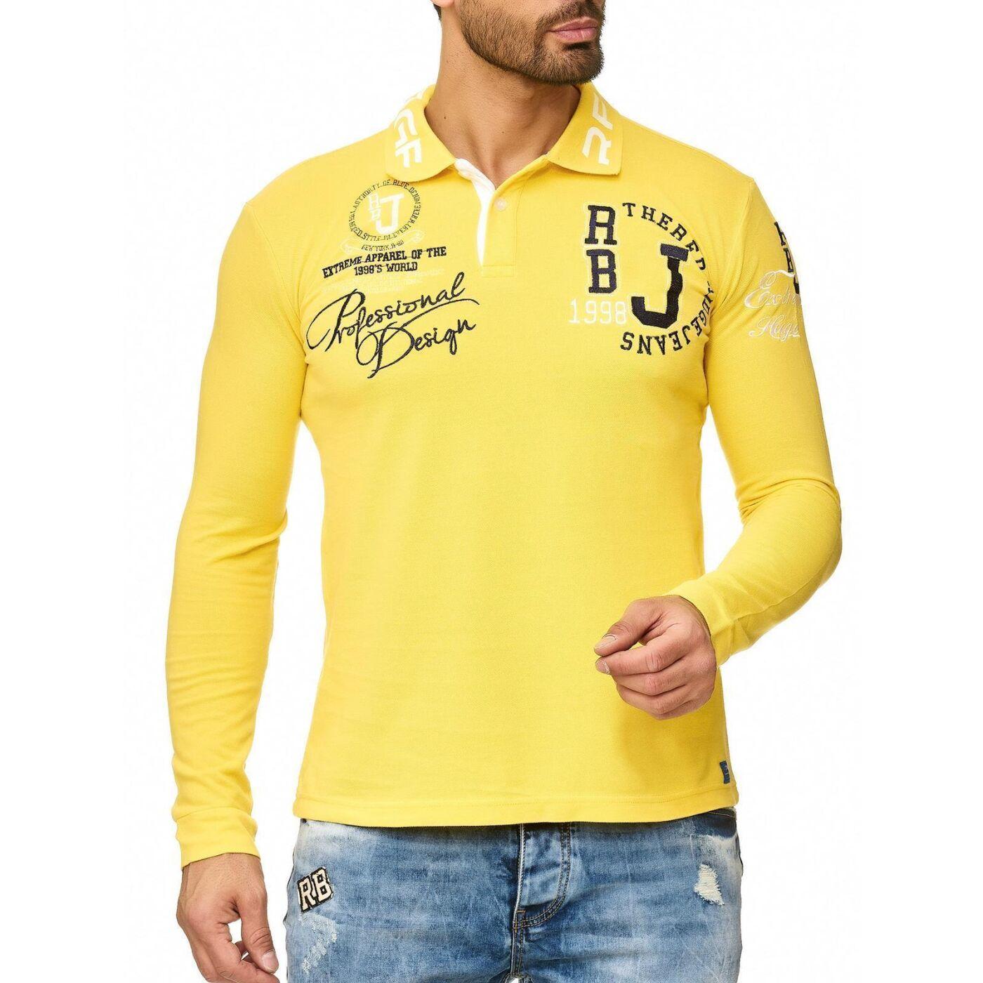 d09fa80b8 Red Bridge Men's Slim-Fit Longsleeve Polo Shirt Long Sleeve Collar Logo  Print Cotton