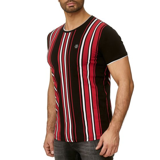 Red Bridge Mens T-Shirt Sheer Stripes Slim-Fit Logo Patch