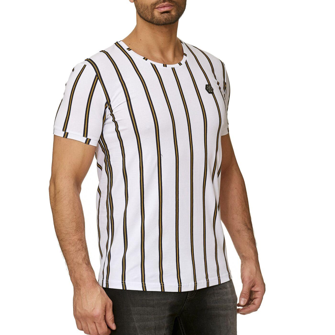 7017814ef52555 Red Bridge Herren T-Shirt Filled Stripes Regular-Fit Logo Patch ...