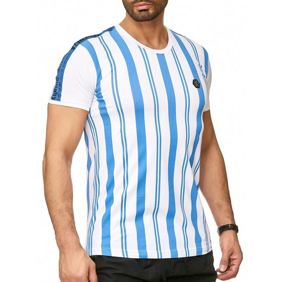 Red Bridge Herren T-Shirt Vertical Stripes Warning Security Logo Patch