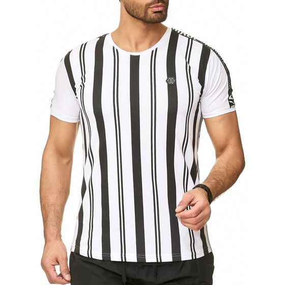 Red Bridge Mens T-Shirt Vertical Stripes Warning Security...