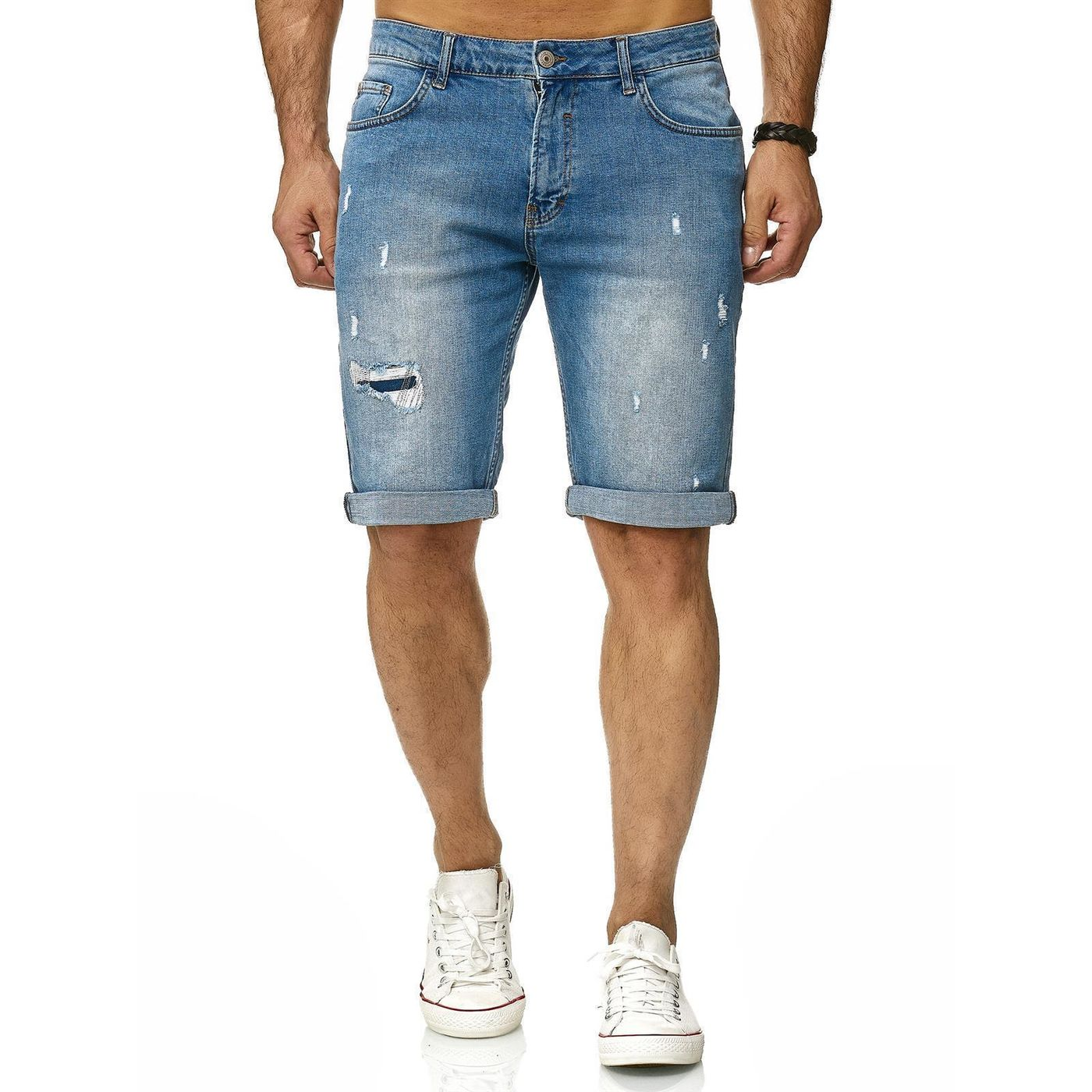 Jeans Distressed Red Hose Denim Bridge Capri Kurze Herren Shorts PXOTkuZi