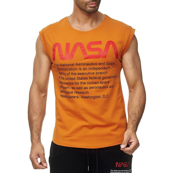 Red Bridge Mens Tank Top T-Shirt NASA Logo USA Sleeveless