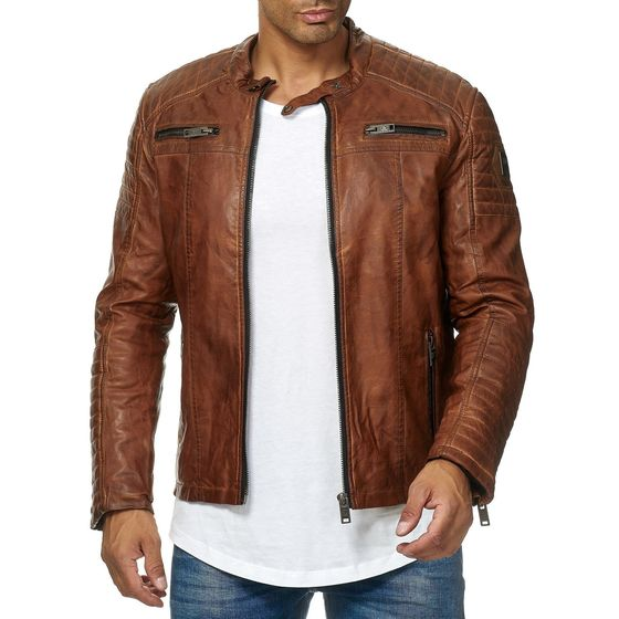 Red Bridge Mens Faux Leather Jacket Biker Jacket Biker...