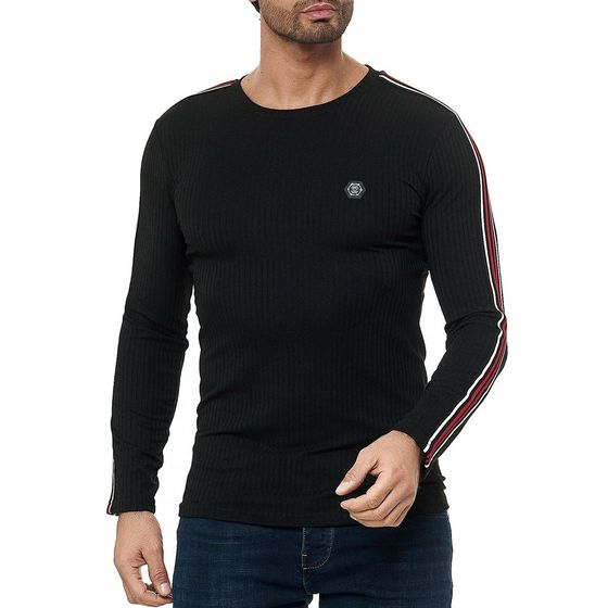 Red Bridge Herren Longsleeve Pullover Slim-Fit Striped