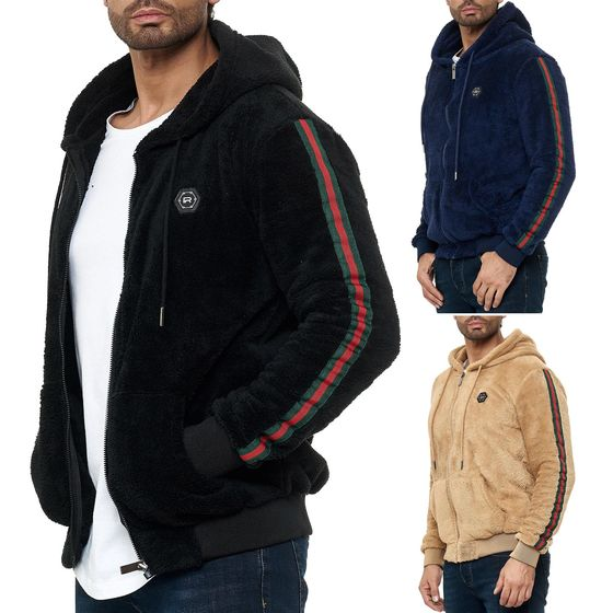 Red Bridge Mens Teddy Fur Sweat Jacket Hoodie Zipper...
