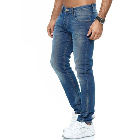 Red Bridge Herren Jeans Hose Slim-Fit Distressed Faded Wave