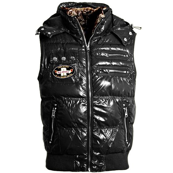 Red Bridge Mens Vest with Detachable Hooded High Collar...