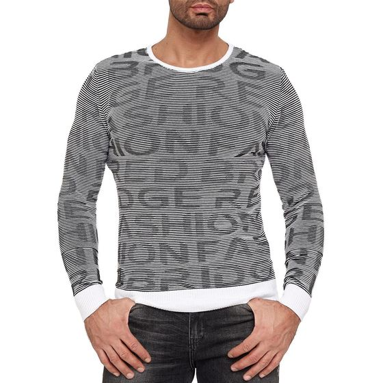 Red Bridge Mens Knit Sweater Ripped Contrast Lines M3094