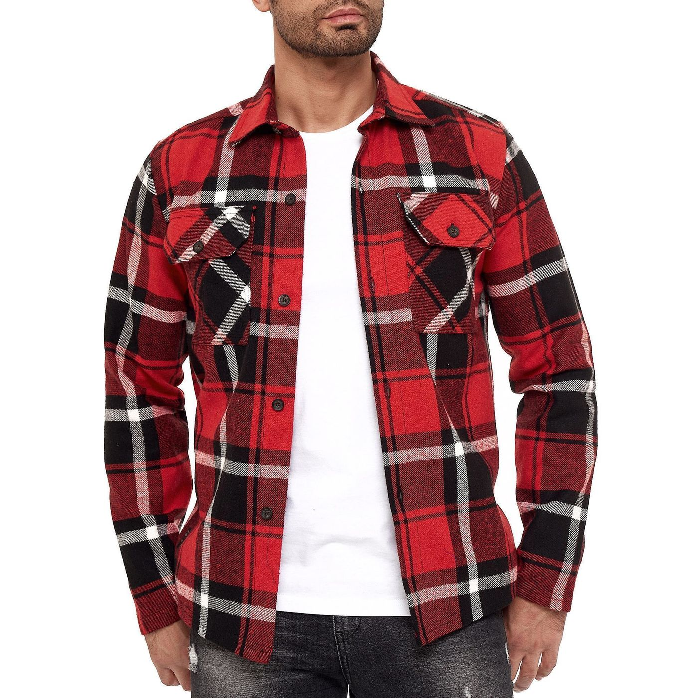 Mens Brushed Cotton Flannel Check Shirt Long Sleeve Plaid Top Blouse Lumberjack
