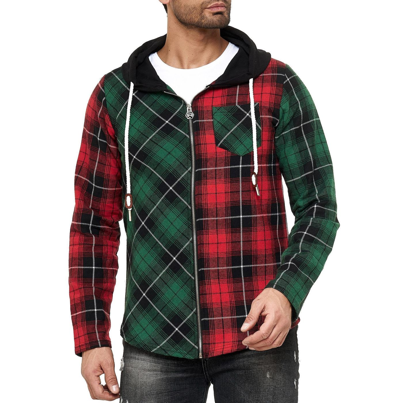 Karierte Tasche Pullover Hoodie RED BLACK