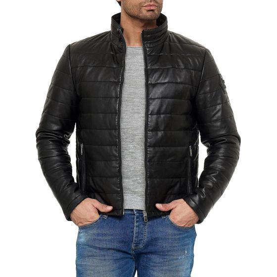 Red Bridge Mens Leather Jacket Real Leather Quilted...