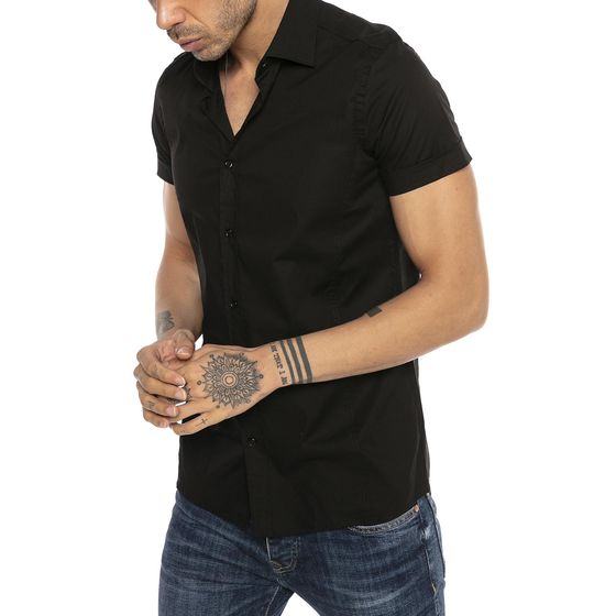 Red Bridge Herren Basic Design Slim Fit kurzarm Hemd schwarz