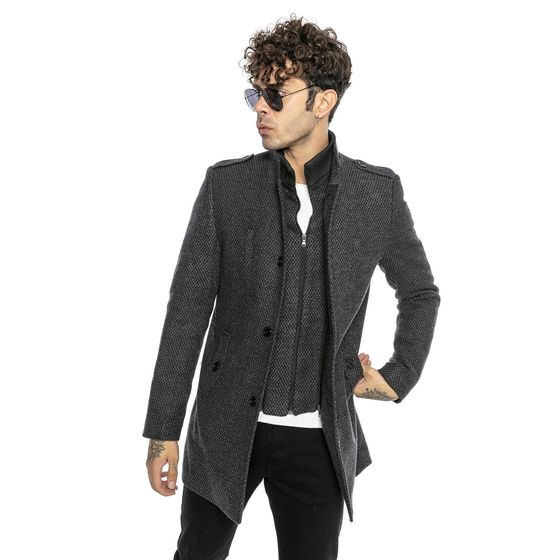 Red Bridge Mens Trench Coat Jacket Transformable-2Tone