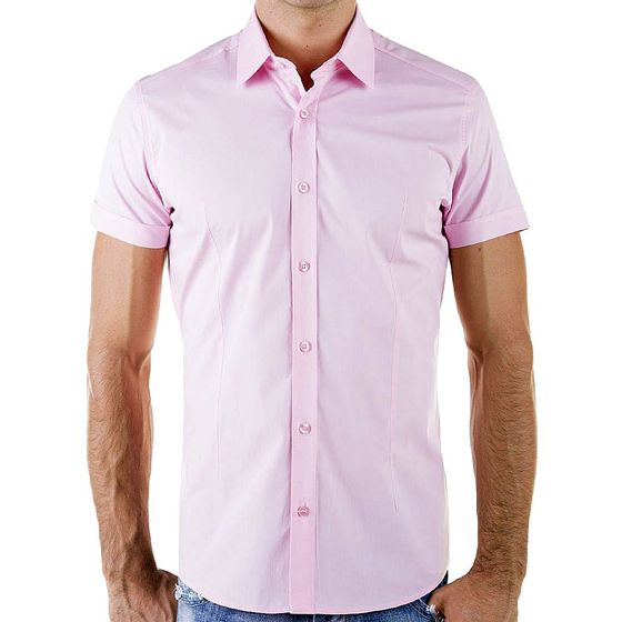 Red Bridge Herren Basic Design Slim Fit kurzarm Hemd pink