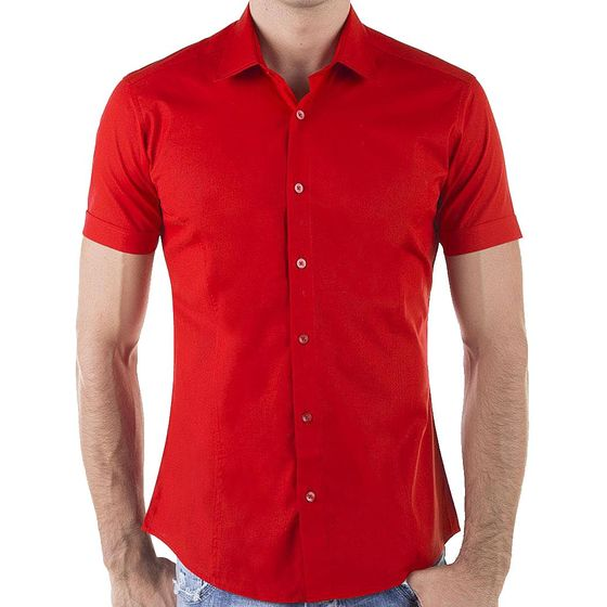 Red Bridge Herren Basic Design Slim Fit kurzarm Hemd rot