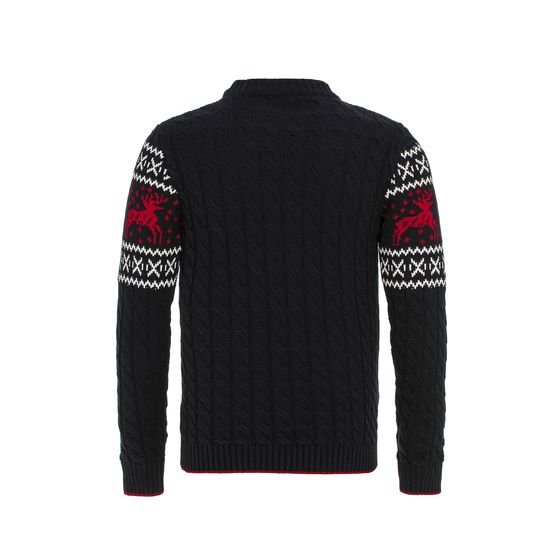 Red Bridge Mens Knitted Sweater Norwegian Pullover Slim-Fit Plait Reindeer