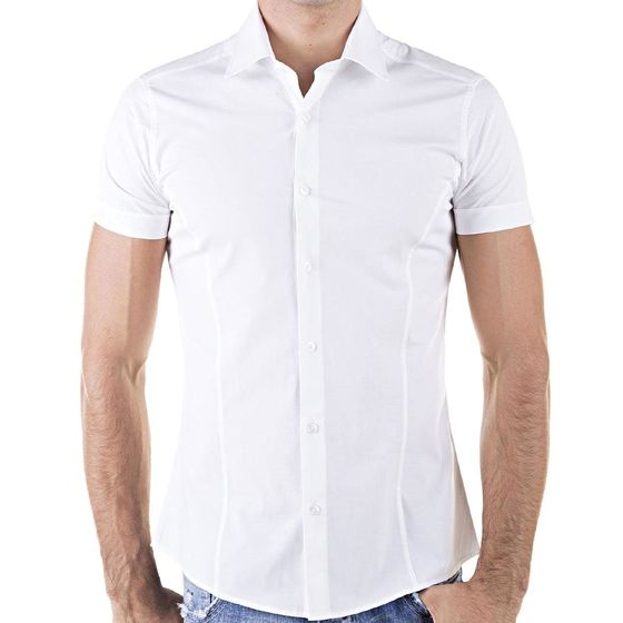 Red Bridge Herren Basic Design Slim Fit kurzarm Hemd weiss