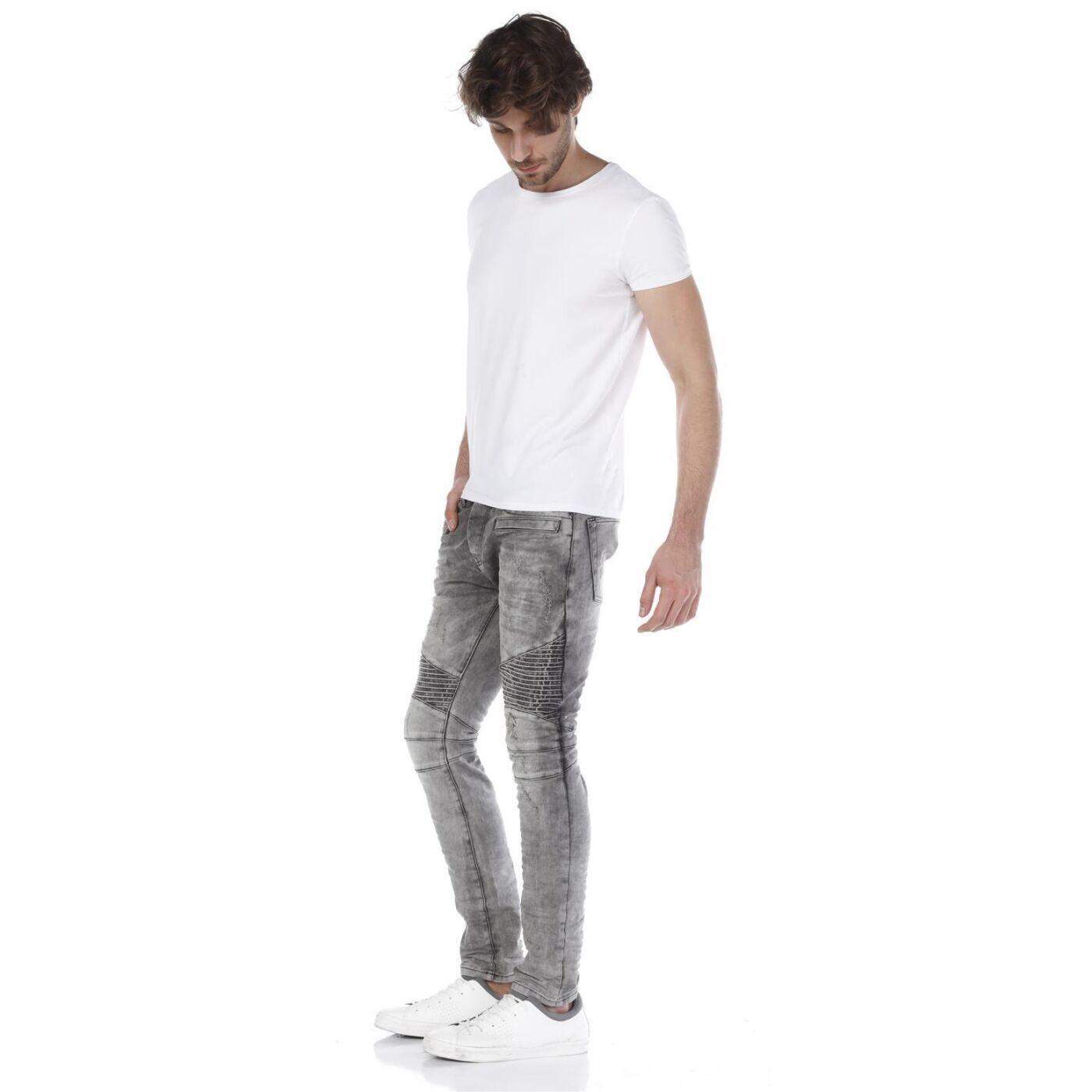 8e34f5eaf6157 Red Bridge Herren Biker Skinny Röhrenjeans Jeans Pants Denim grau