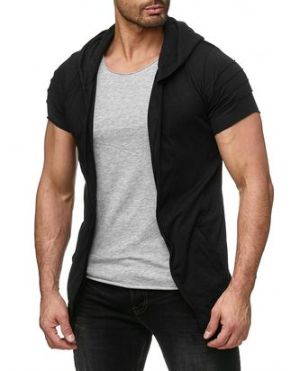 Red Bridge Herren double Layer hooded T-Shirt schwarz grau