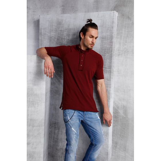 Red Bridge Herren Button Down Oversized T-Shirt bordeaux