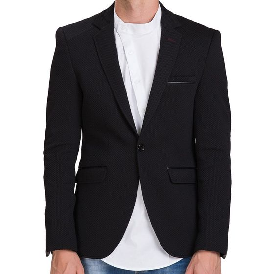 Red Bridge Herren Leather Line Sakko Blazer schwarz