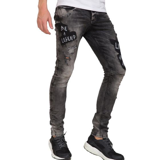 Red Bridge Herren Be A Legend Ripped Röhrenjeans Jeans Hose grau