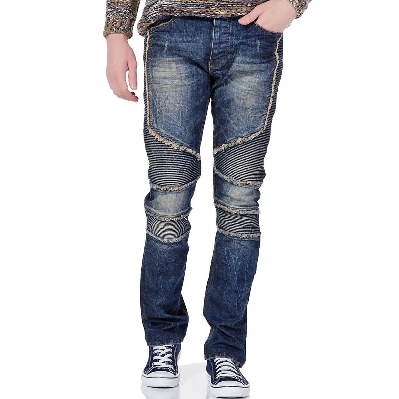 red bridge herren biker jeans ripped r hrenjeans blau. Black Bedroom Furniture Sets. Home Design Ideas