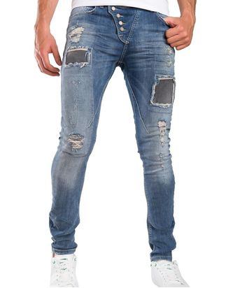 Red Bridge Herren Straight Cut Jeans Röhrenjeans Hose blau