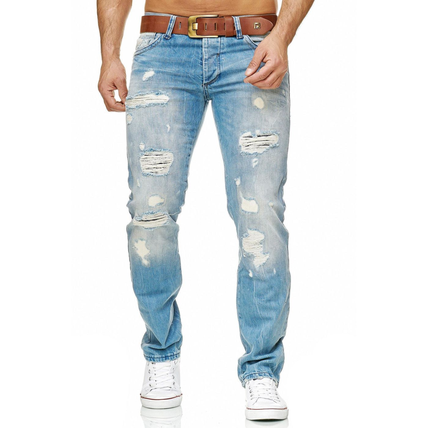 BEHYPE Jeans Herren Röhrenjeans Destroyed Chino Hose Blau//Schwarz//Grau NEU