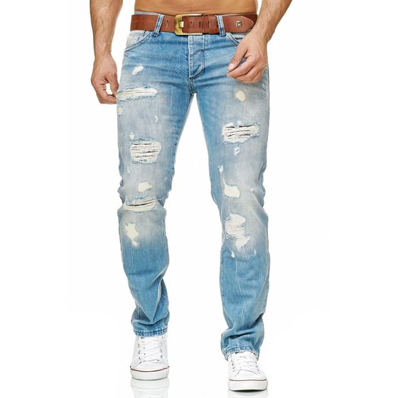 Red Bridge Herren ripped Straight Cut Jeans Röhrenjeans Hose hellblau