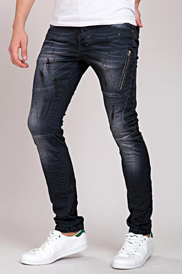Red Bridge Faded Stonewashed Knittereffekt Paintet Denim Herren Jeans